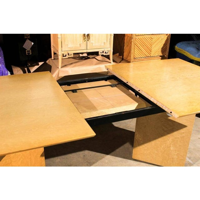 Yellow Gorgeous Knife Edge Extension Dining or Conference Table in Bird's-Eye Maple For Sale - Image 8 of 11