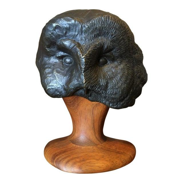 Grant Goltz Bronze & Wood Owl Sculpture - Image 1 of 9