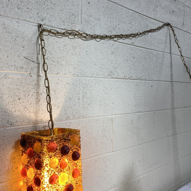 Acrylic Mid-Century Hanging Light Fixture For Sale - Image 7 of 12