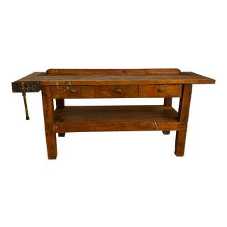 Vintage French Wooden Workbench or Kitchen Island With Working Vise Grip and Three Drawers For Sale