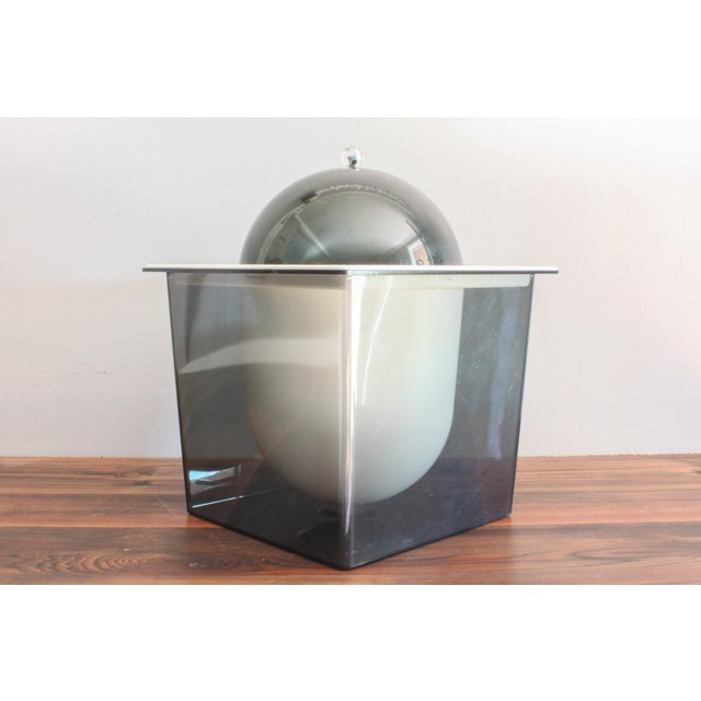 Gray 1960s Atomic Mid Century Modern Smoked Plexi 3-Piece Ice Bucket For Sale - Image 8 of 8