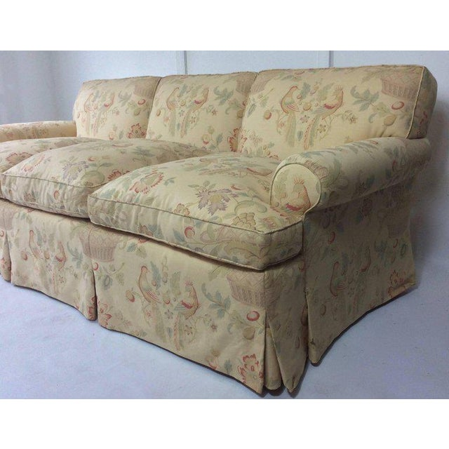 English Sofa, Manner of George Smith, Custom Upholstered in Bennison Linen For Sale - Image 5 of 7