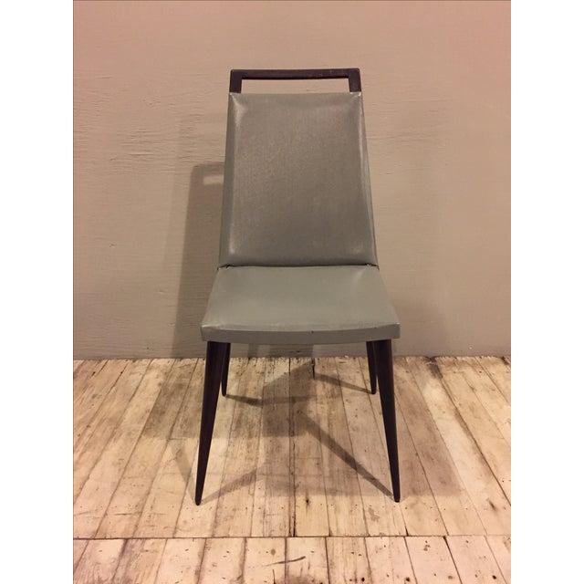 Vintage 1960s Mod Wood & Vinyl Chairs - 4 - Image 4 of 8