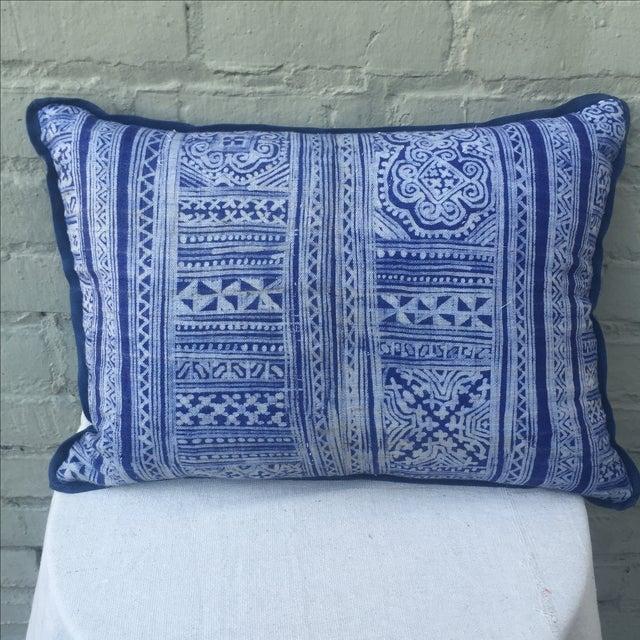 Indigo Blue & White Batik Cotton Pillow - Image 2 of 5