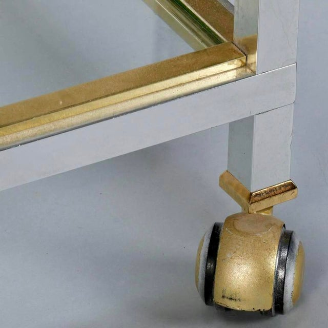 Mid Century Chrome Brass and Glass Serving Trolley in Style of Maison Jansen - Image 6 of 8
