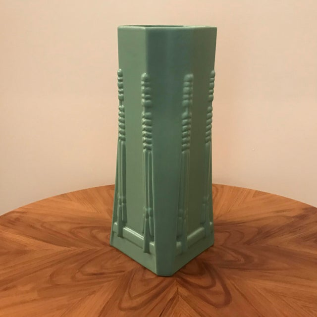 Frank Lloyd Wright Dana Sumac Pottery vase in Teco Green. This beautiful vase is designed to reflect a signature Frank...