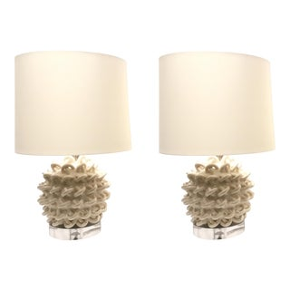Modern Arteriors White Ceramic Knot Table Lamps - a Pair For Sale