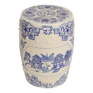 Late 20th Century Vintage Chinese Blue & White Porcelain Garden Stool For Sale