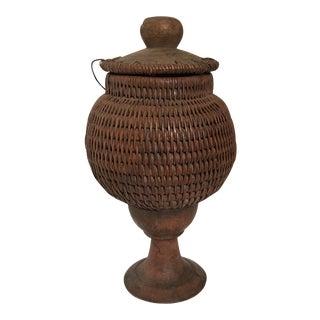 Woven Jar on Pedestal