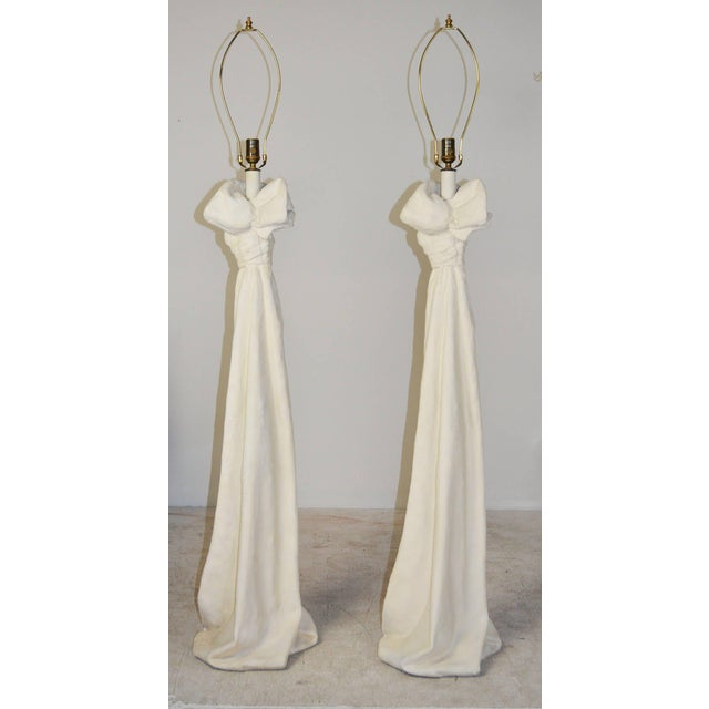 Contemporary Draped Plaster Floor Lamps in the manner of John Dickinson - A Pair For Sale - Image 3 of 6