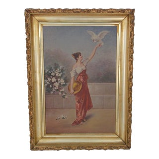 19th Century Antique British School Woman and Dove Painting For Sale