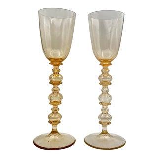 Orange Glass Kim Seybert Bubble Chalices - a Pair For Sale