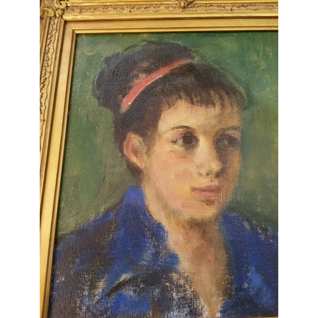 Original Mid-Century Young Lady Portrait Painting in a Carved French Gilt Frame - Image 2 of 5