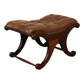 English Regency Style Mahogany Tufted Brown Leather Ottoman For Sale