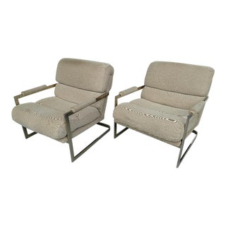 Milo Baughman Style Cantilevered Chrome Armchairs - A Pair For Sale