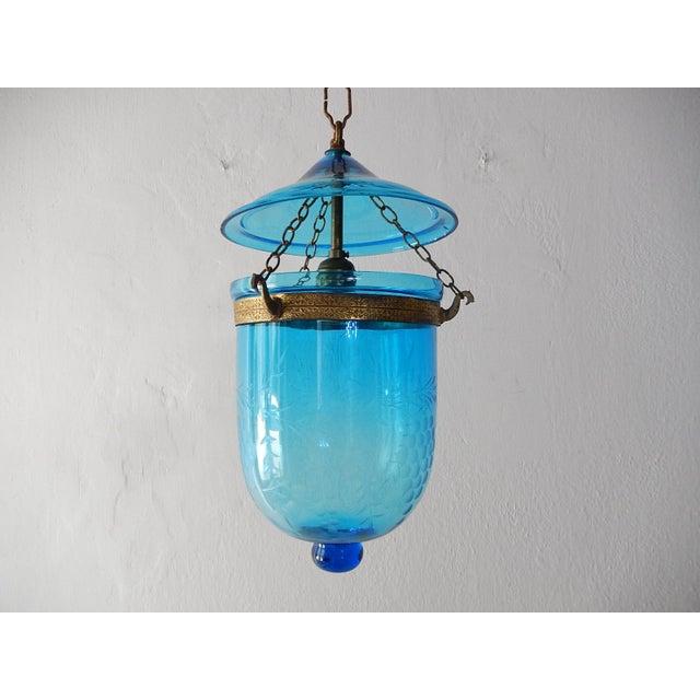 19th Century Cobalt Blue English Bell Jar Lantern Chandelier For Sale - Image 13 of 13