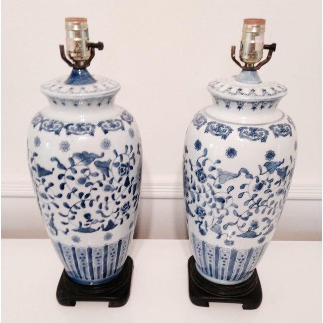 Vintage Blue & White Porcelain Lamps - Pair - Image 2 of 6