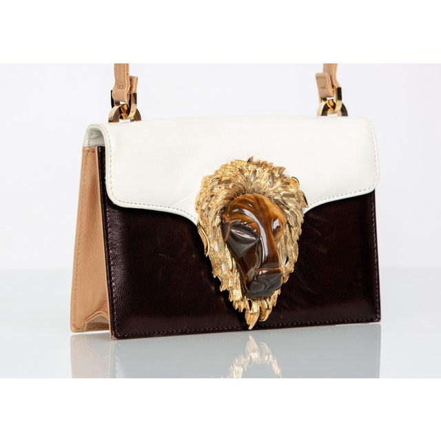 Italian 1970s Valentino Tiger's Eye Lion Head Gold Brown Ivory Shoulder Bag For Sale - Image 3 of 10
