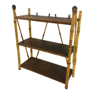 Vintage Bamboo Wall Shelf For Sale