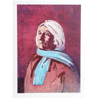 """John Sherrill Houser """"Portrait of a Native American Woman"""" Lithograph For Sale"""