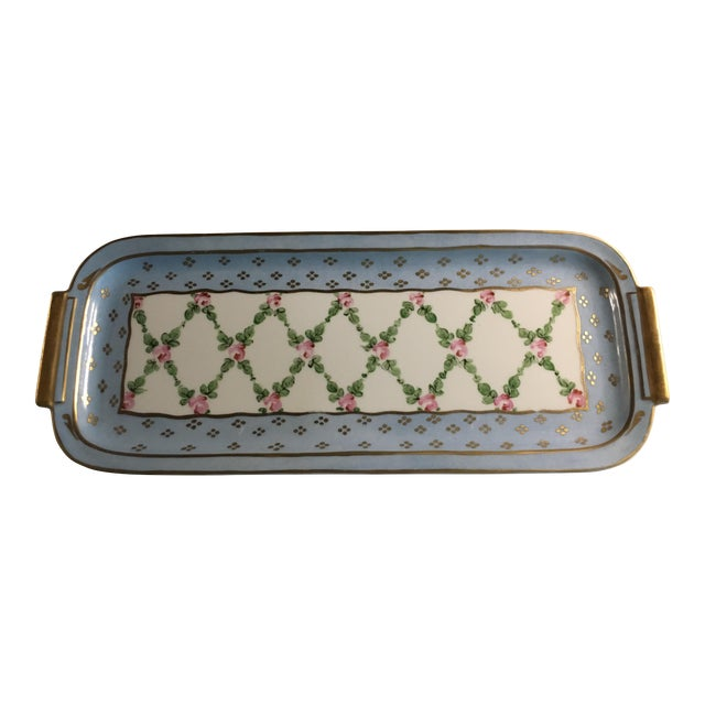 Hand Painted French Porcelain Rectangular Plate - Image 1 of 5