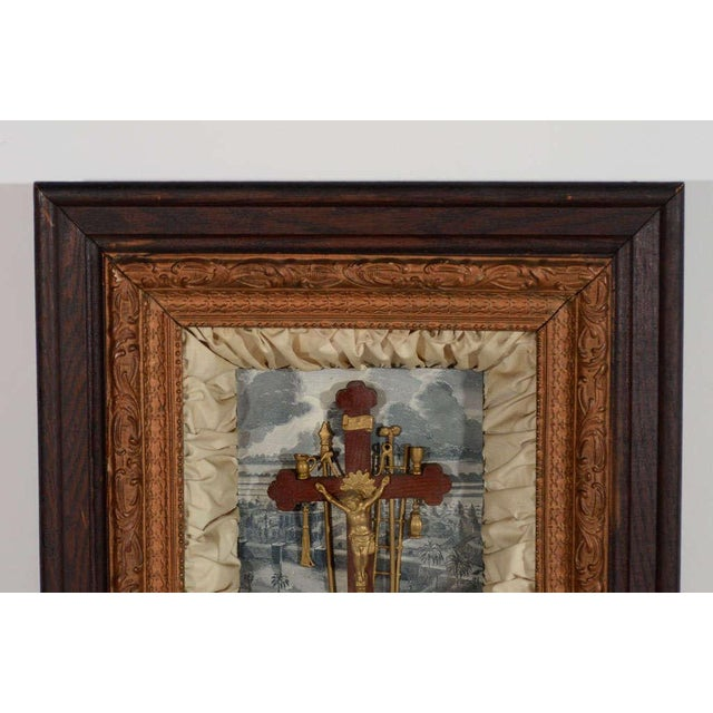 Antique Victorian Religious Shadowbox with Crucifix Scene - Image 4 of 9