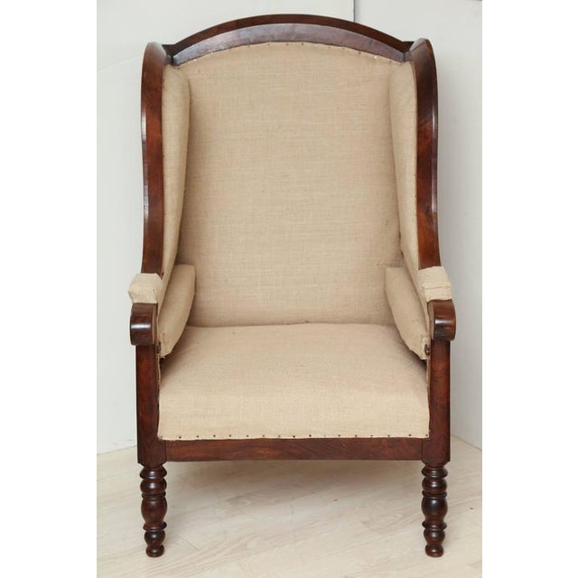 French Country Early 19th Century French Walnut Upholstered Wing Chair For Sale - Image 3 of 10