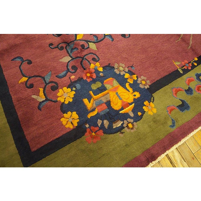 1920s 1920s Antique Chinese Art Deco Rug-9′2″ × 11′8″ For Sale - Image 5 of 8