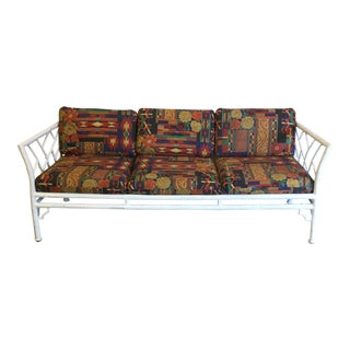 White Lacquered Chinese Chippendale Faux Bamboo Metal Sofa