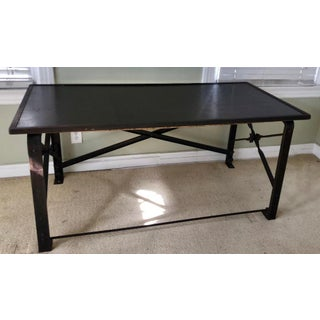 Industrial Chic Wrought Iron Modern Designer Writing Table Desk - Faux Shagreen Top Preview
