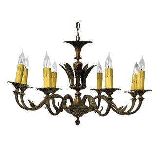 Spanish Crafted Brass Eight Arm Chandelier For Sale
