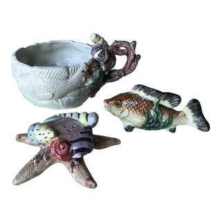 Fitz and Floyd Sea Life Salt & Pepper Shakers and Bowl - Set of 3 For Sale