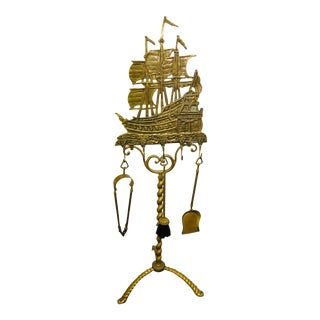 Antique Nautical Themed Brass Fireplace Set For Sale