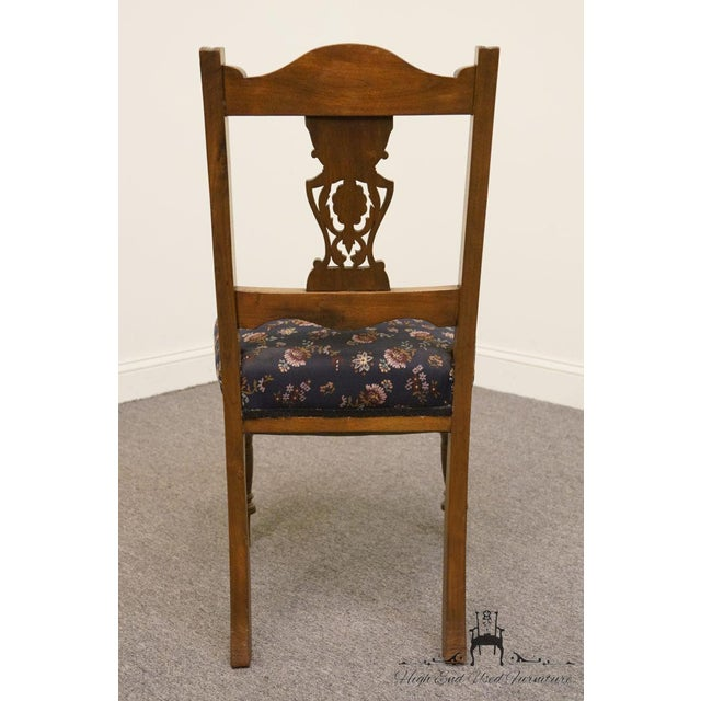 1940's Antique Jacobean Gothic Revival Walnut Dining Side Chair For Sale In Kansas City - Image 6 of 8