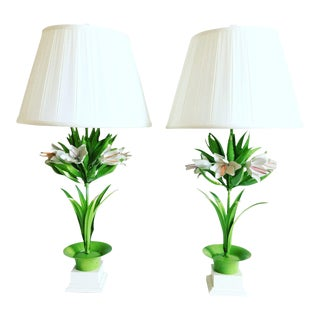 Italian Topiary Lamps & Shades - a Pair For Sale