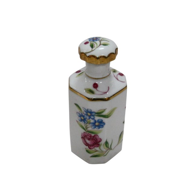 Antique Hand Painted Floral German Perfume Bottle / Decanter For Sale