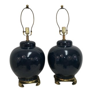Dark Blue Ginger Jar Lamps - A Pair