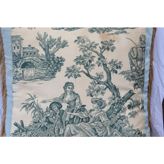 Blue 20th Century French Blue Toile Very Soft Down Pillow For Sale - Image 8 of 13