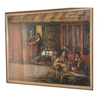 """""""Café in Ceret, France"""" Pastels Mixed Media on Cardboard"""