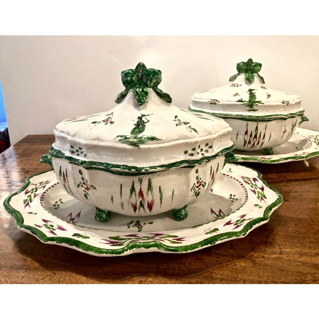 Ceramic Pair French Faience Soup Tureens With Under Plates, Early 19th Century For Sale - Image 7 of 12