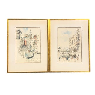Cityscape Water Color Painting Prints of Venezia a Pair With Gilt Frames Signed Jan Korthals For Sale