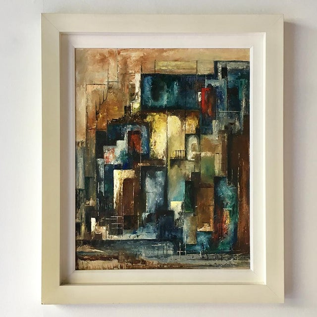 An Abstract Oil on Board Painting by Peggy Mohler For Sale - Image 6 of 6