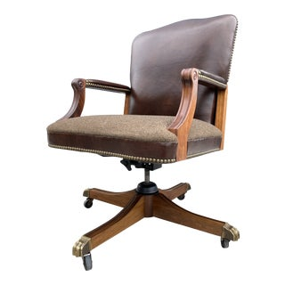 Neo-Traditional Gunlocke Swivel-Tilt Leather High-Back Bronze Paw Feet Executive Desk Chair For Sale