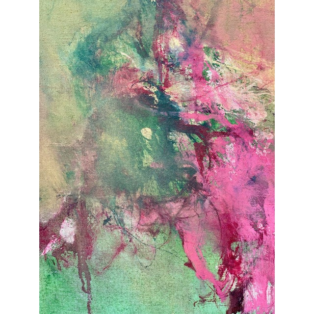 1960s Vintage Green and Pink Abstract Painting For Sale - Image 4 of 6