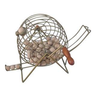 Mid-Century Modern Brass Bingo Cage and Wooden Bingo Balls