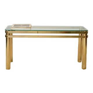Karl Springer Hollywood Regency Style Brass and Glass Console Table For Sale