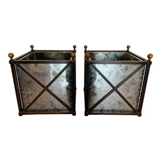 C. 2000's Modern History Dark Bronze Metal Square Planters - A Pair For Sale