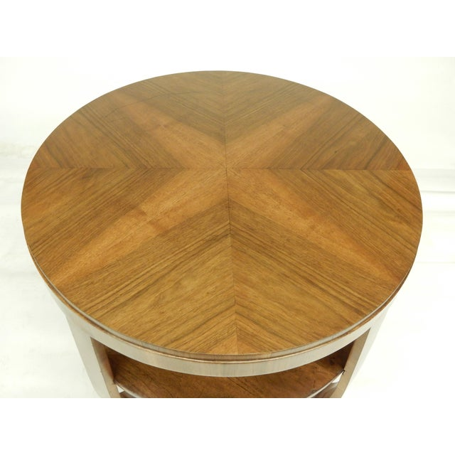 1930s 1930's Round Art Deco Walnut Side Table For Sale - Image 5 of 9
