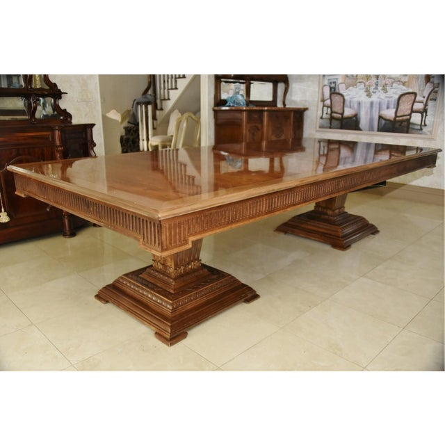This massive, banquet-sized contemporary extension dining table was originally purchased for $37,500. This is an...