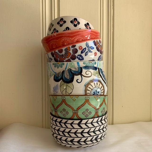 Black Eclectic Patterned Cottage Farmhouse Bowls, Set of Seven For Sale - Image 8 of 11
